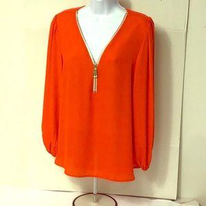 Premise Studio Zipper Neckline Red Neon Blouse MD